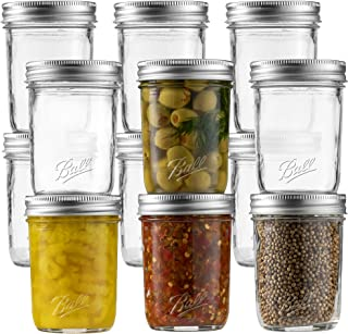 Ball Regular Mouth Mason Jar 8 oz [Set of 12] Canning Jars With Airtight lids and Bands - For Canning, Fermenting, Picklin...