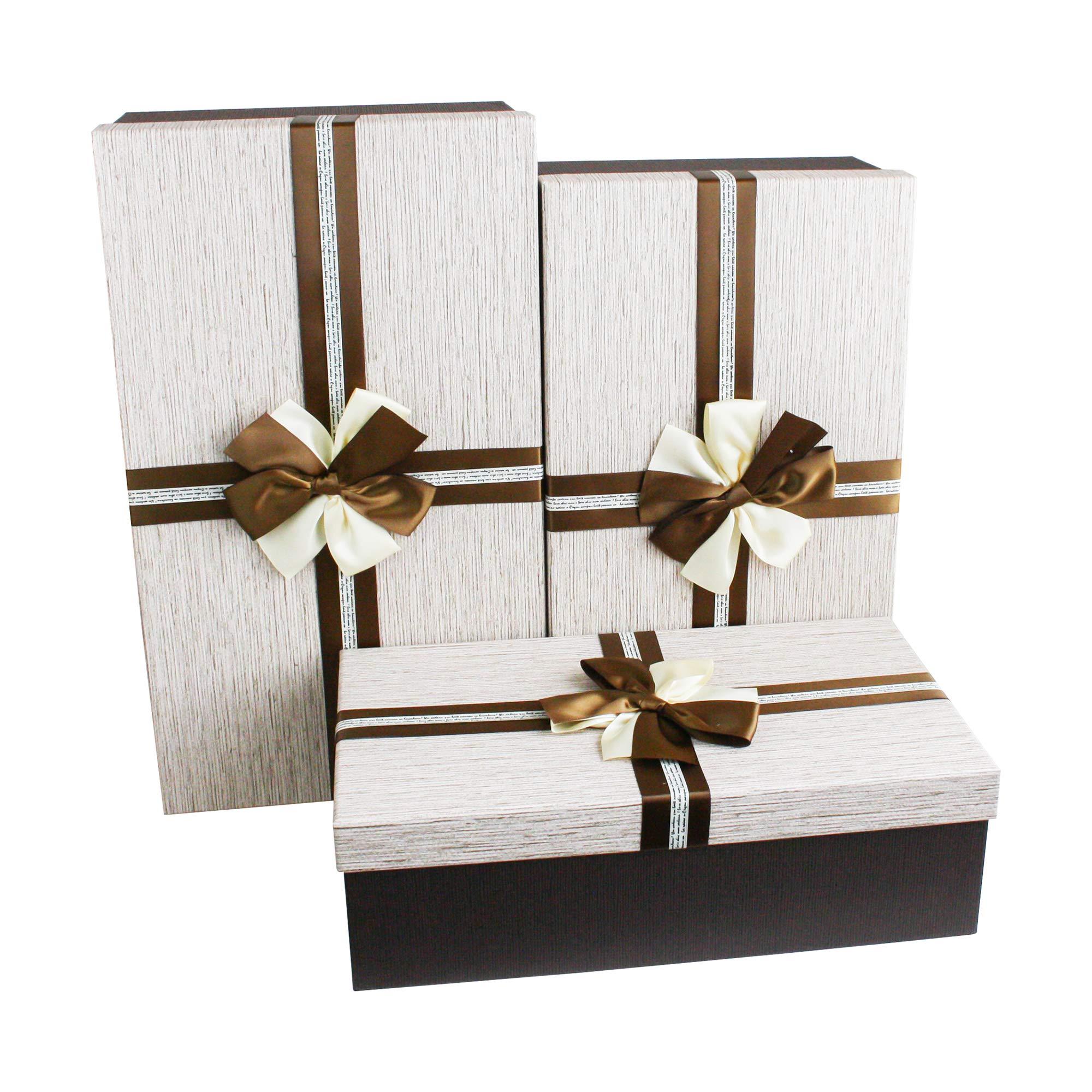 Emartbuy Conjunto de 3 Rígido Lujo en Forma Rectángulo de Presentación Caja de Regalo, Caja Marrón Con Tapa Crema, Interior Marrón Chocolate y Lazo de Cinta Decorativo de Dos Tonos: Amazon.es: Oficina