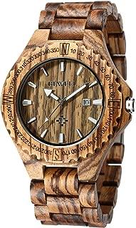 BEWELL ZS-W023A Mens Wooden Watch Lightweight Wood Band Calendar Quartz Wrist Watch