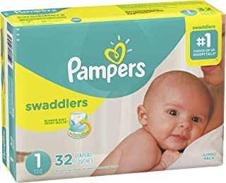 Diapers Newborn / Size 1 (8-14 lb), 32 Count - Pampers Swaddlers Disposable Baby Diapers