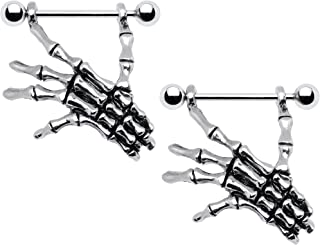 Body Candy Stainless Steel Spooky Skeleton Hand Dangle Nipple Shield 14 Gauge 3/4