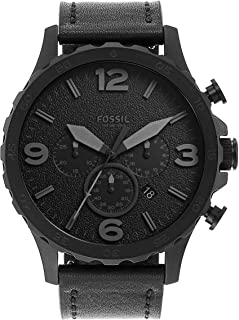 Fossil Mens JR1354 Nate Stainless Steel Chronograph Watch with Black Leather Band