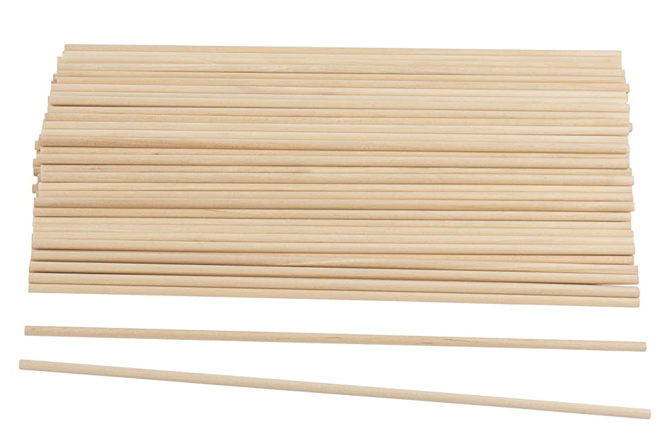 Wood Dowel Rods - 100-Pack Wood Sticks, Unfinished Hardwood Dowels, Craft Woods, for DIY Craft Art Projects, Gardening, Planting, Weddinhg Ribbon Wands, 0.19 Inches Diameter, 12 Inches Long