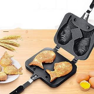 m·kvfa Portable Japanese Pancake Maker Fish-Shaped Bakeware Waffle Pan 2 Cast Home Cake Tools Gift for Christmas New Home Holiday