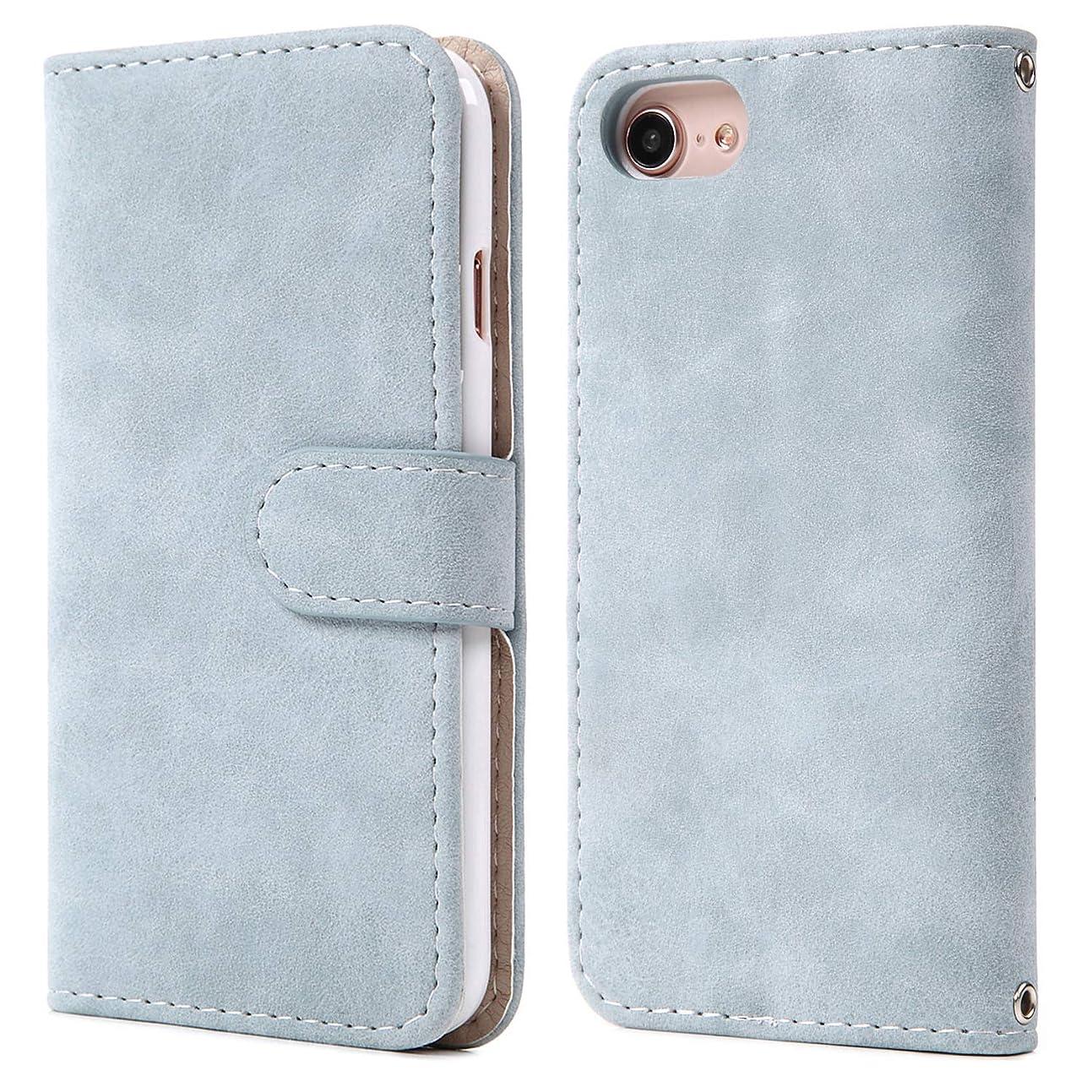 好きであるバケット元気[MINTY] iPhoneXS iPhoneX ケース 手帳型 スエードタイプ スモーキーブルー