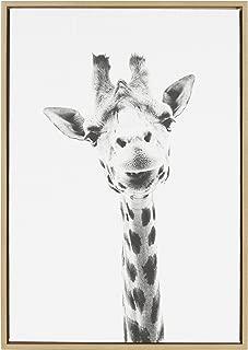Kate and Laurel Sylvie Giraffe Animal Print Black and White Portrait Framed Canvas Wall Art by Simon Te Tai, 23x33 Natural