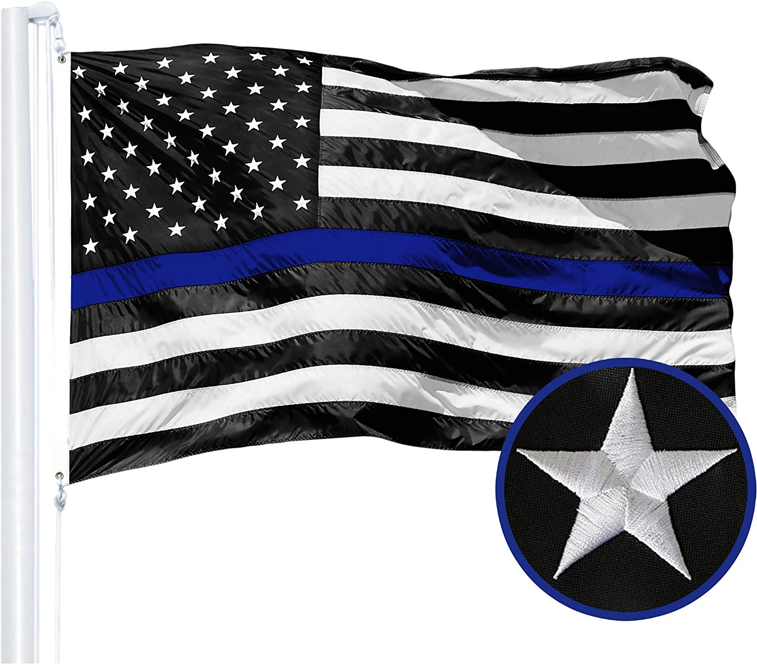 Large special price supreme G128 - Thin Blue Line Embroidered U.S. Bras 3X5 American Flag FT