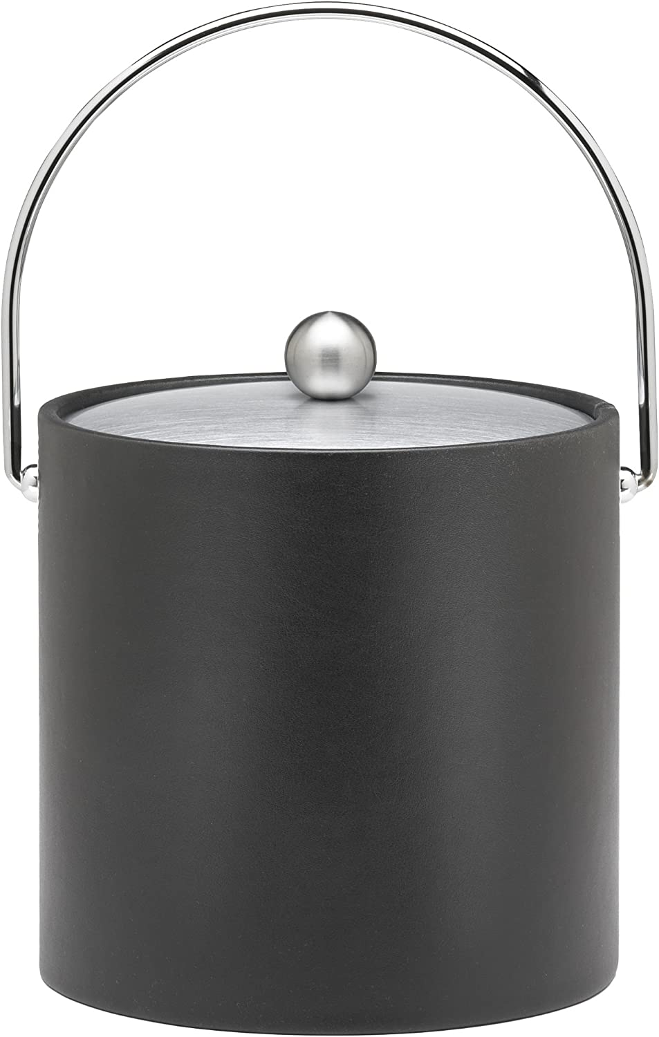 Kraftware Ice Bucket with Chrome Lid, Bale Handle and Astro Ball Knob, Black - 3 Quart