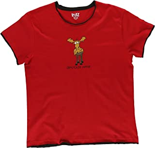 Chocolate Moose-Moose Pajama Tee by Lazy One,Red,X-Large
