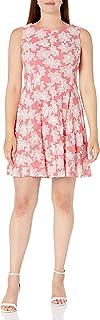 Sandra Darren womens 1 PC Sleeveless Lace Puff Fit & Flare Dress Business Casual Dress