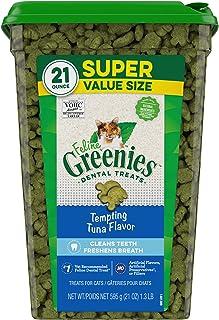FELINE GREENIES Natural Dental Care Cat Treats Tempting Tuna Flavor, 21 oz. Tub