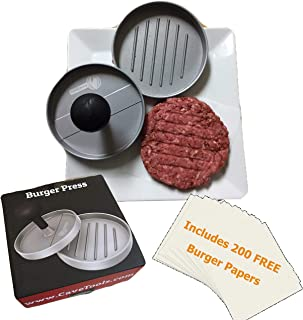 Cave Tools Burger Press - Perfectly Formed Hamburger Maker - Includes 200 Non Stick Patty Papers for Making Quarter Lb or Large 1/3 Pound Stuffed Pocket Burgers - Best Aluminum Presser BBQ Gift Idea