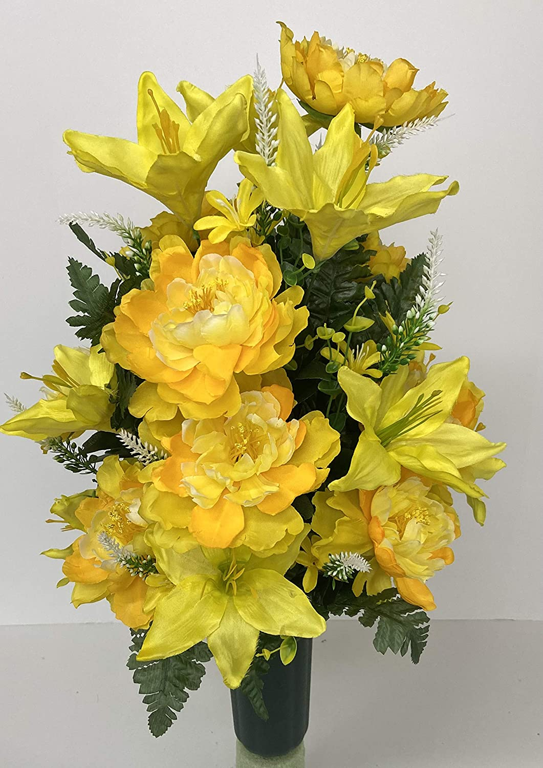 Yellow Lily and Peony Mix Low 2021new shipping free shipping price Cemetery With Cone Vase C Filler Green