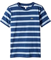 Lacoste Kids - Short Sleeve Heathered Stripe Crew Neck Tee Shirt (Toddler/Little Kids/Big Kids)