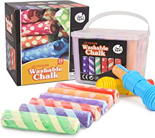 Jar Melo Crayon Washable Chalk Dust Free; 24 Colours; Sidewalk Jumbo Chalk; Outdoor Fun; Dotted Chalk with Chalk Holder