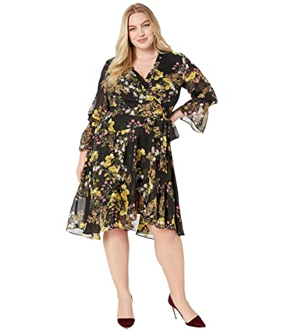 Tahari by ASL Plus Size Side Wrap Printed Chiffon Dress (Black/Yellow/Ivory) Women