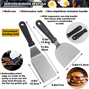 ROMANTICIST 11PC Griddle Accessories Kit with Carrying Bag - Restaurant Grade Griddle Spatula Set for Flat Top Grill ...