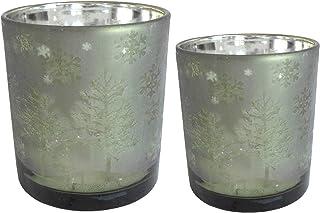 2 er Set Windlicht Windlichter Metall Grau Kupfer Metallschalen Teelichthalter