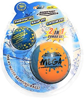 Wave Runner Soft Foam Water Skipping Ball   2-Pack Bundle   Speed Duo Set Includes Two Water Bouncing Balls Mega Ball & Grip Ball   Great Summer Toy for Beach Swimming Pool River Lake