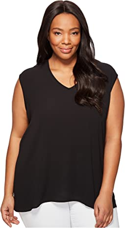 Plus Size Extend Shoulder V-Neck Mix Media Textured Top