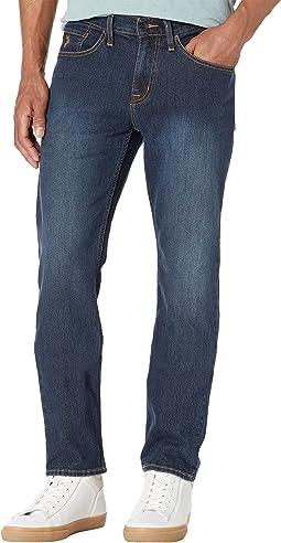Slim Straight Stretch Five-Pocket Denim Jeans in Blue