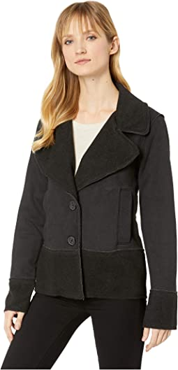 Sueded Fleece Notch Collar Jacket