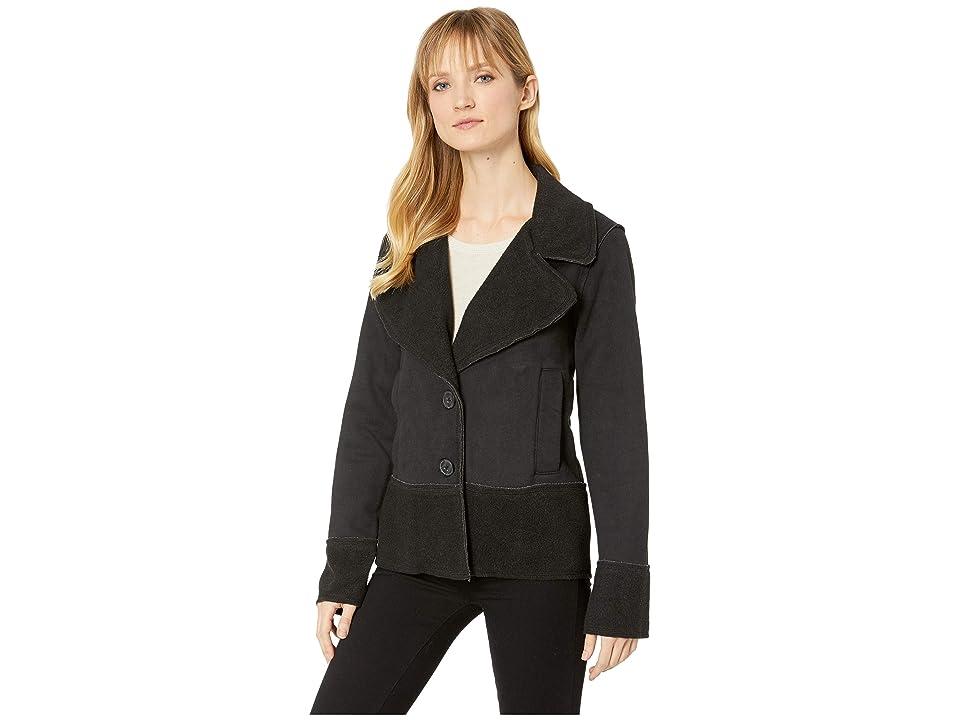 Mod-o-doc Sueded Fleece Notch Collar Jacket (Black) Women