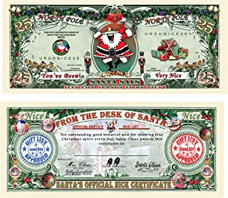 TheGag 25-Santa's Official Naughty and Nice List Certificates-Give One Out Each Day During Christmas