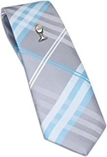 Boys First Communion Tie and Chalice Tie Pin in Silver-Tone, 45-inch
