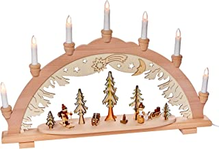 Sigro Vogtland Souvenir 7 Flame Premium Wood Light Arch with Forest, Hunter and Santa Claus