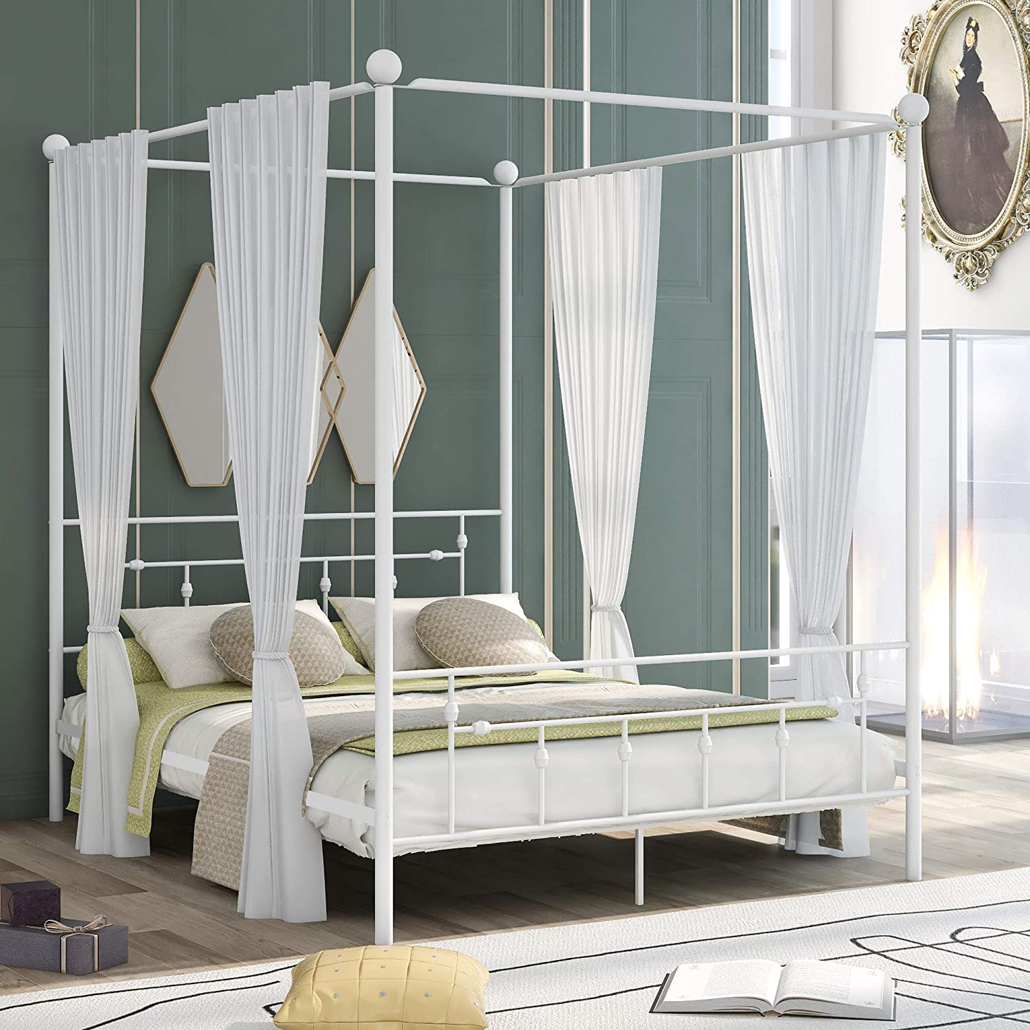 Kteam Queen Size Metal Canopy 安値 Bed Under-Be Headboard with 海外 Frame