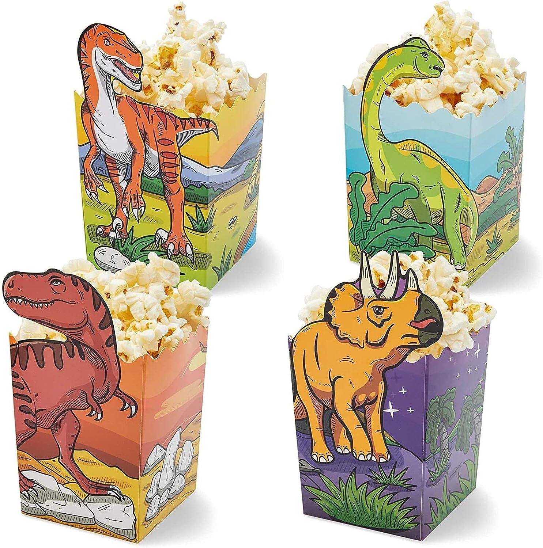 Blue Panda Dinosaur Popcorn Boxes for Treats, Goodies (60 Count) 4 Designs