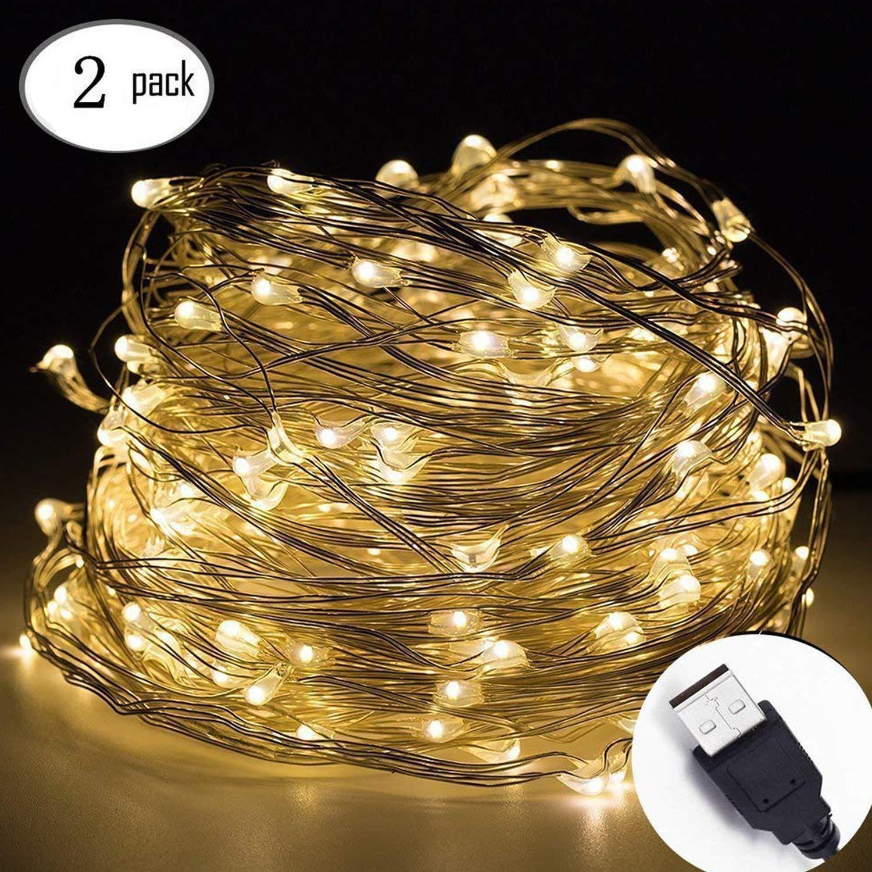 Cadena de luces LED 10m, 100 LED, guirnalda de luces, decoración para navidad, fiestas, bodas, jardines, festivales (2 pack blanco cálido): Amazon.es: Iluminación