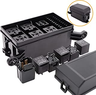 12-Slot Relay Fuse Box,6 Relays,6 ATC/ATO Fuses Holder Block with 41pcs Metallic Pins for Automotive and Marine Engine Bay Jeep Car Boat