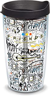 Tervis 1334012 Warner Brothers - Friends Pattern Insulated Tumbler with Wrap and Black Travel Lid, 16 oz - Tritan, Clear
