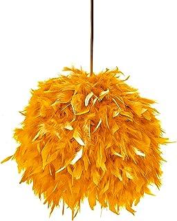 Lámpara FEATHERS naranja - lámpara decorativa de plumas estilo Boho