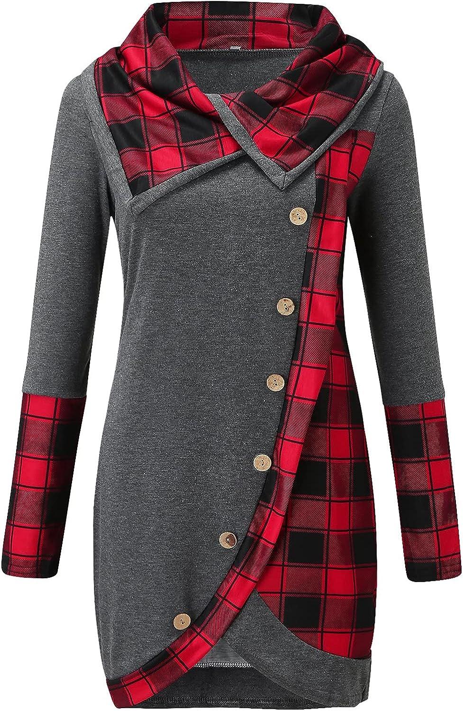 XXBR Women's Sweatshirt, Fashion Lapel Collar Checked Button Plaid Patchwork Tunic Tops Blouses Tartan Casual Pullover