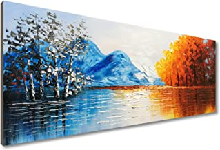 EVERFUN ART Hand-Painted Oil Painting 3 Pieces Modern Abstract Wall Art Hanging Lake Scenery Landscape Canvas Picture Framed Ready to Hang 60 W x 30 H