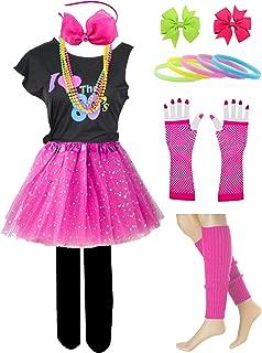 Kid Girl I Love 80s T-Shirt 1980s Star Sequin Tutu Skirt with Neon Necklace Bow Headband Hair Clip Set