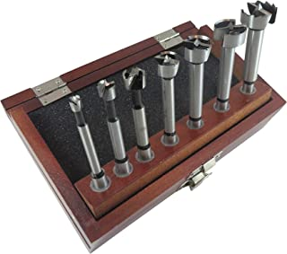 7 Piece Forstner Drill Bit Set with Bits from 1/4 to 1 Inch by 1/8ths Hardened Carbon Steel in Wooden Storage Box 402000