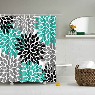 black white and turquoise shower curtain