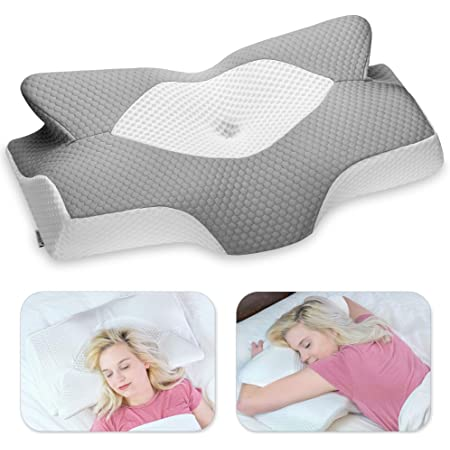 Elviros Cervical Memory Foam Pillow, Contour Pillows for Neck and Shoulder Pain, Ergonomic Orthopedic Sleeping Neck Contoured Support Pillow for Side Sleepers, Back and Stomach Sleepers (Grey)