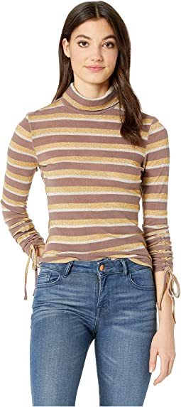 Ruched Sleeve Metallic Stripe Top