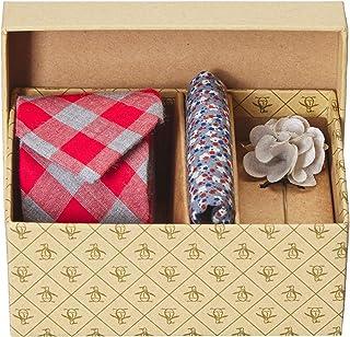 Original Penguin 男式 3 件套格子领带、方形口袋和翻领别针盒,红色,均码