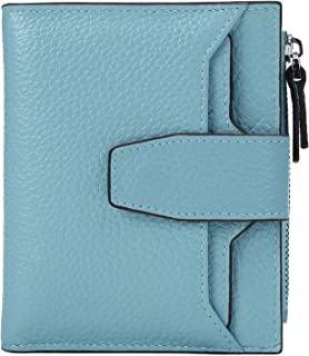 AINIMOER Women's RFID Blocking Leather Small Compact Bi-fold Zipper Pocket Wallet Card Case Purse with id Window