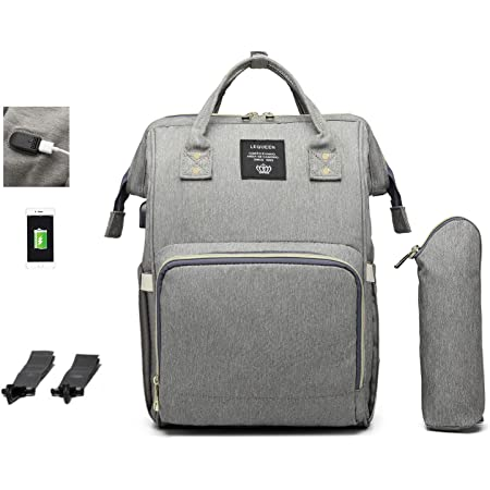 Large Waterproof Maternity Babby Changing Bag TUOSLAND Diaper Bag Backpack Multifunction Travel Backpack for Mom,Gray Pink
