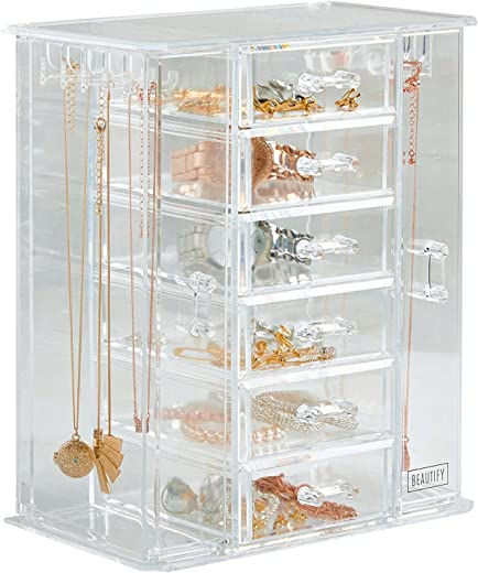 Beautify Acrylic Jewellery Organiser With 6 Storage Drawers Clear Transparent Jewellery Trinket Box See-Through Necklace And Earring Holder - Gifts For Her