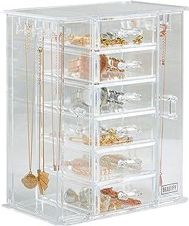 Beautify Clear Acrylic Jewelry Organizer Chest/Makeup Storage Box with 6 Drawers &..