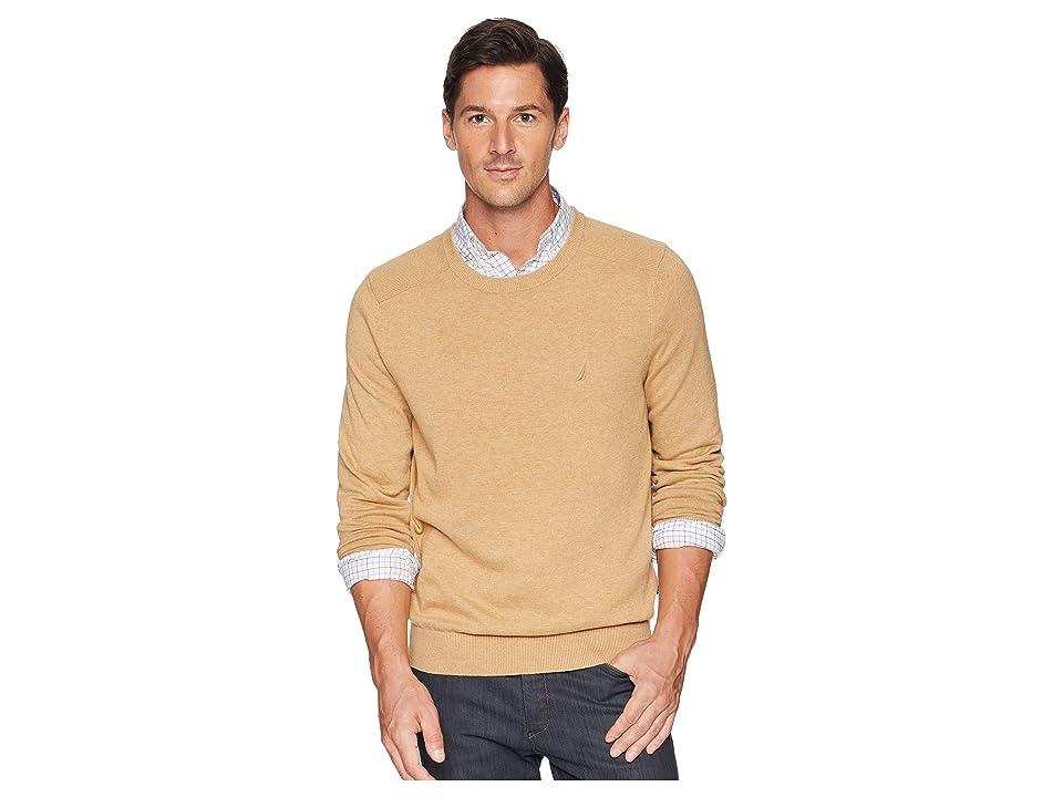 Nautica Solid Crew Neck Sweater (Camel Heather) Men