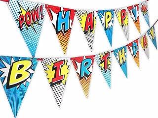 Superhero Red Happy Birthday Banner Pennant